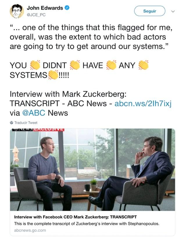 Edwards critica la entrevista de Zuckerberg (Fuente: Twitter @JCE_PC)