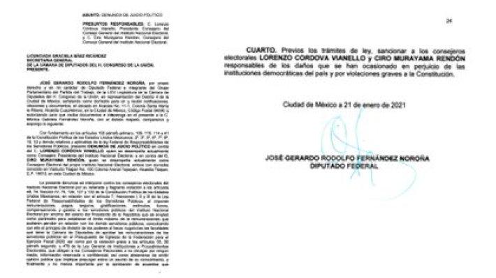 La denuncia de juicio político fue presentada este lunes por Fernández Noroña (Foto: Especial)