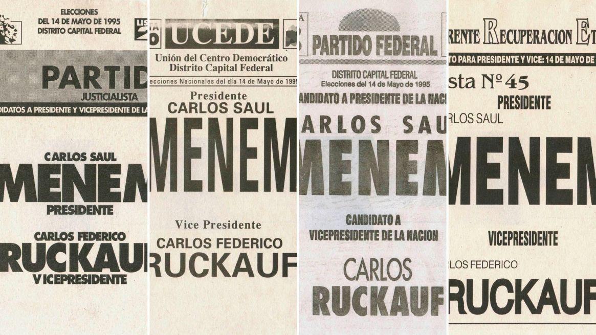Los cuatros boletas con las que Menem consiguió la reelección en 1995