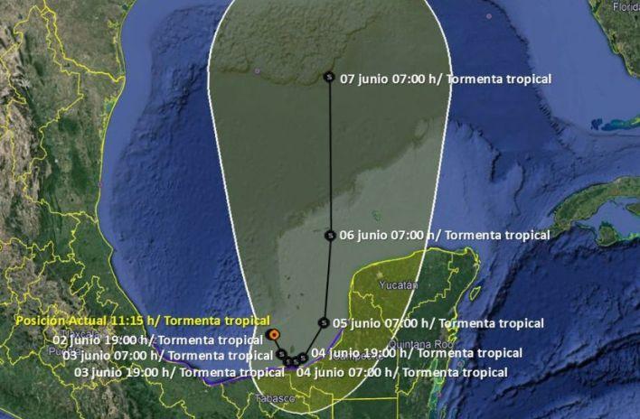 Trayectoria de tormenta tropical Cristóbal, México
