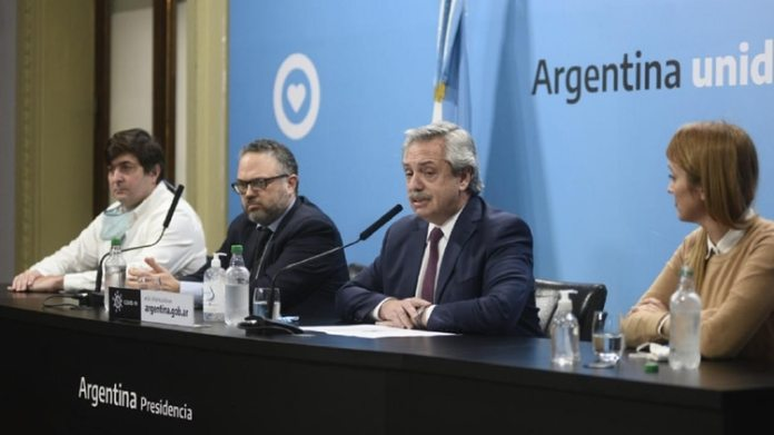 Gabriel Delgado, Matías Kulfas, Alberto Fernández y Anabel Fernández Sagasti