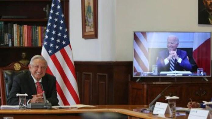 Los presidentes Andrés Manuel López Obrador y Joe Biden sostuvieron un encuentro virtual el pasado lunes (Foto: Twitter / @lopezobrador_)