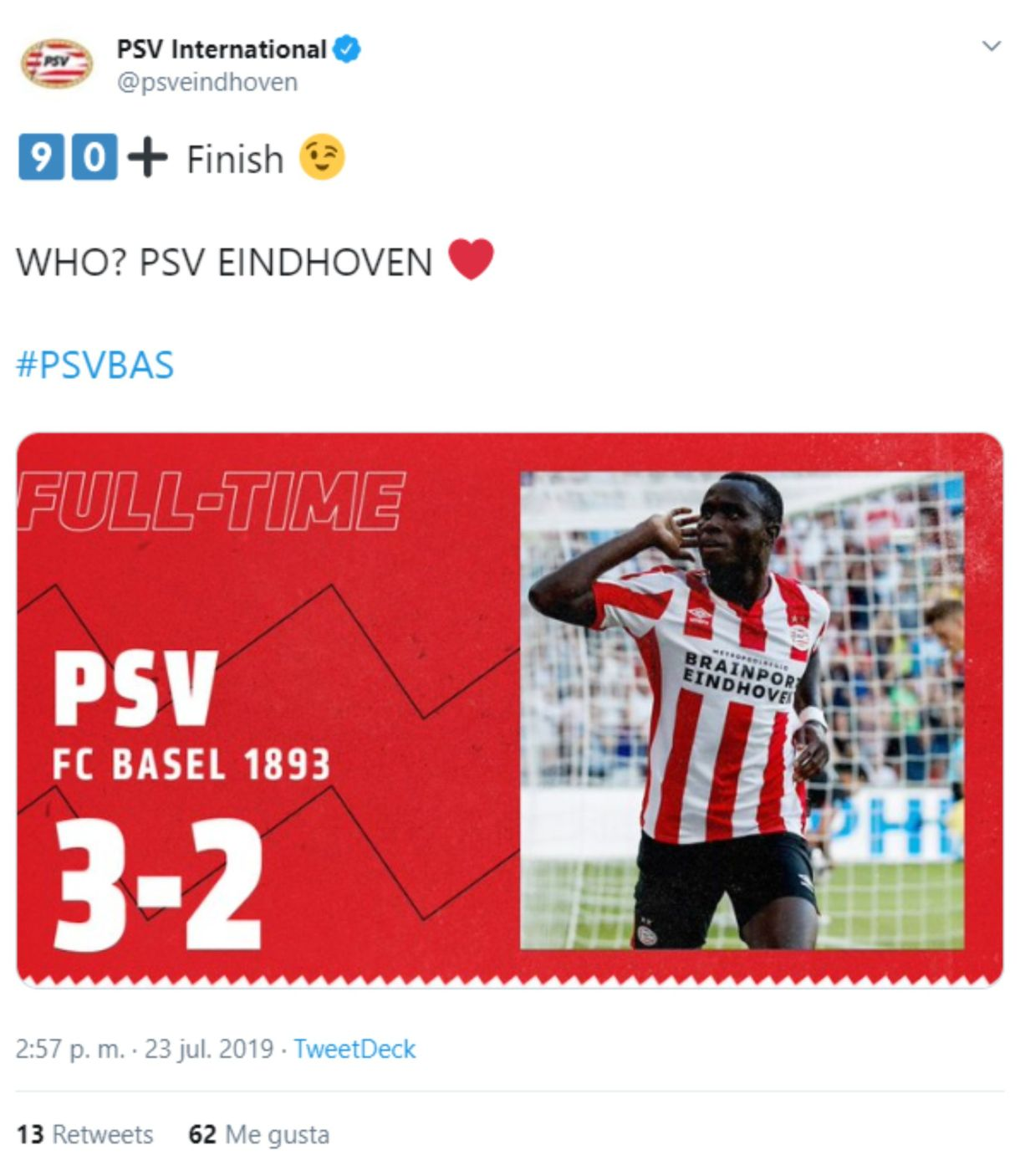 El equipo holandés se llevó la victoria en la ida de este cruce, en busca de un boleto a la fase de grupos de la Champions (Foto: Captura de pantalla de Twitter)