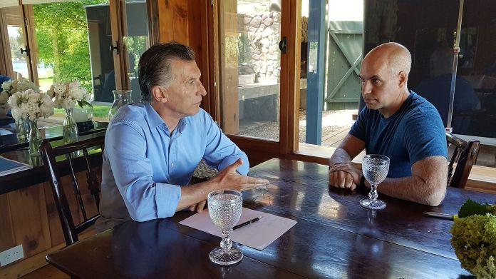 Mauricio Macri y Horacio Rodríguez Larreta durante una reunión en Villa La Angostura en 2018