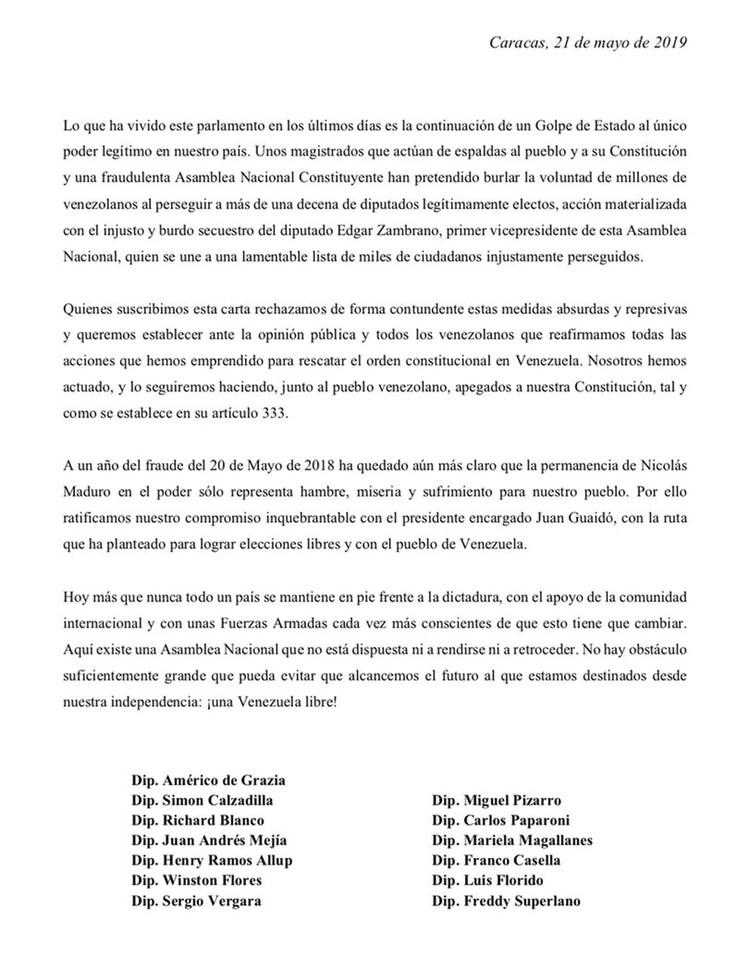 La carta de los diputados perseguidos por el régimen de Maduro
