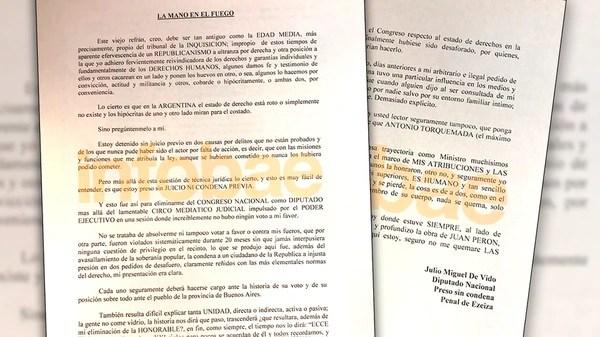 La carta de Julio De Vido en la que arremetió con dureza contra Cristina Kirchner