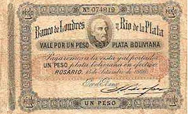 Quince años antes de la entrada en vigencia del peso moneda nacional, en 1866 los pesos fuertes contaban con respaldo de plata boliviana