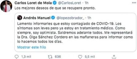The journalist Loret de Mola wished President López Obrador a speedy recovery (Photo: Twitter)