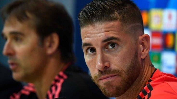 Sergio Ramos participó de la rueda de prensa previa al inicio de la Champions League junto a Lopetegui (AFP)