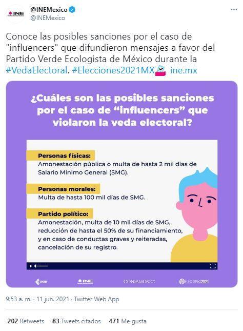 INE sanciones influencers que hicieron propaganda a favor del Partido Verde (PVEM)