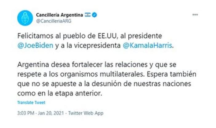 El tuit de la Cancillería saludando la asunción de Biden-Harris que causa un vendaval en la quinta de Olivos