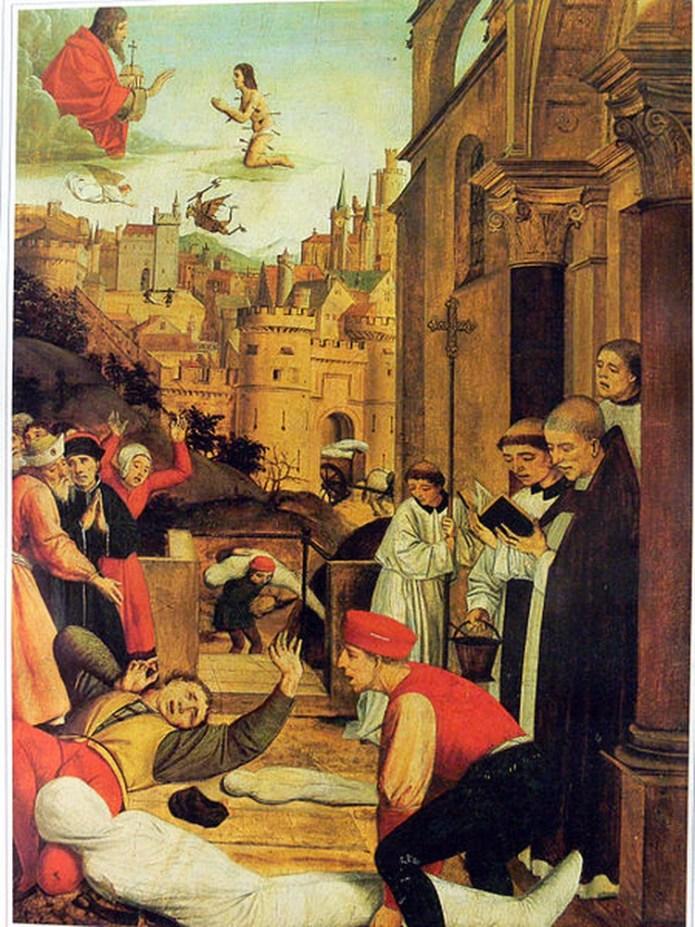 Pintura de San Sebastián suplicando por la vida de un sepulturero afligido por la peste durante la plaga de Justiniano, del siglo VI (Foto: Wikipedia)
