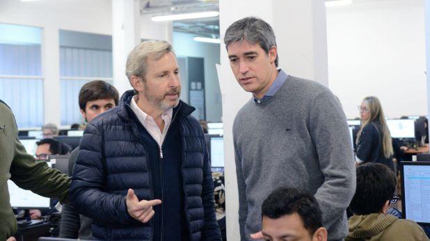 Rogelio Frigerio junto a Adrián Pérez, Secretario de Asuntos Políticos e Institucionales del Ministerio del Interior