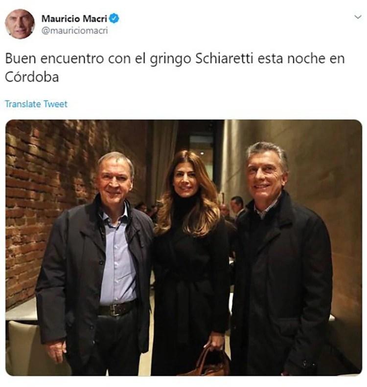 Mauricio Macri, Juliana Awada y Juan Schiaretti, a mediados de julio