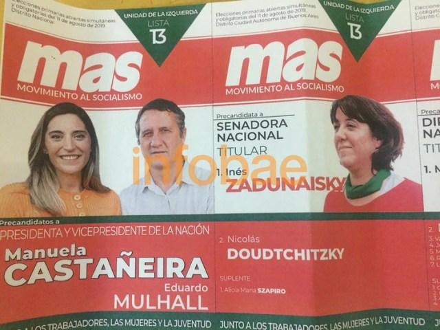 La boleta del MAS con el pañuelo verde que debe retirar