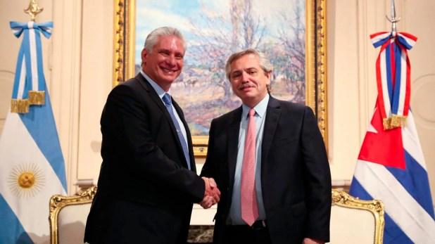 El presidente Alberto Fernández recibió hoy, en el Salón Eva Perón de Casa Rosada, al presidente de Cuba, Miguel Díaz-Canel.