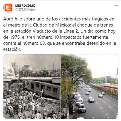 Choque en el Metro en el que murieron más de 30 personas (Foto: Twitter / @CDMXMetro)