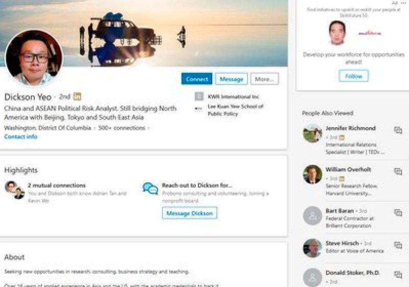 El perfil de Dickson Yeo en LinkedIn, plataforma que utilizó para su tarea de espionaje