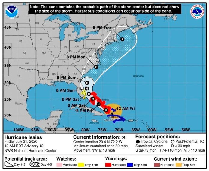 Fotografía cedida por el Centro Nacional de Huracanes (NHC) de Estados Unidos donde se muestra el pronóstico de cinco días del paso del huracán Isaías por las islas Bahamas hacia las costas del país. EFE/NHC