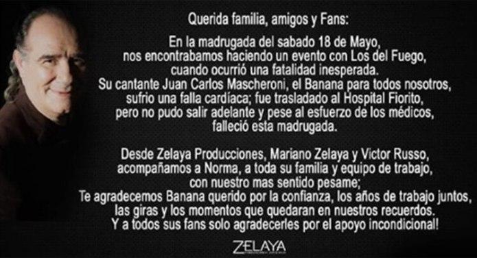 """El mensaje en las redes sociales del grupo, anunciando la muerte de """"Banana"""" Mascheroni"""