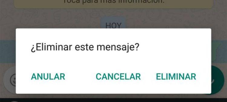 Se podrán borrar los mensajes enviados en WhatsApp
