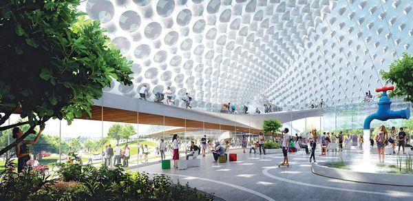 Más pequeño pero más ambicioso: el espacio abierto de las oficinas que Google inaugurará en 2019. (BIG/Heatherwick Studio)