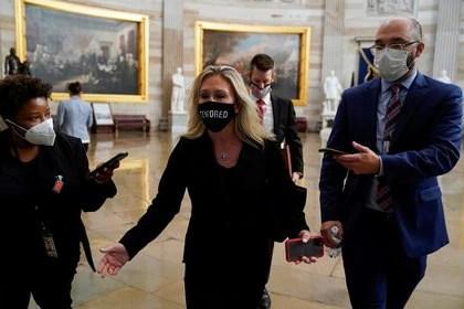 La republicana Marjorie Taylor Greene en el debate contra el juicio político al presidente Donald Trump (REUTERS/Joshua Roberts)