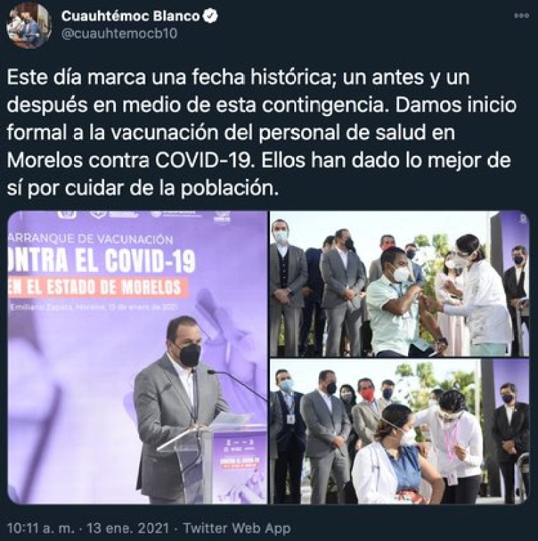 The former footballer described this event as a historic event, a turning point in the fight in the long and exhausting pandemic of Covid-19 (Photo: Twitter @ cuauhtemocb10)