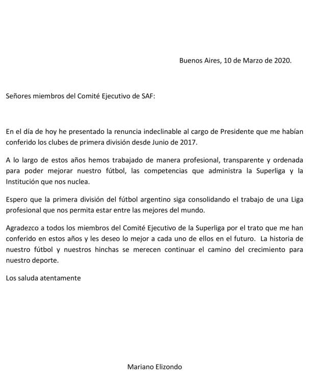 La carta de Mariano Elizondo