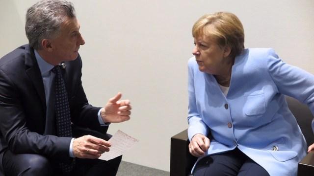 Mauricio Macri con Angela Merkel. La canciller alemana fue muy importante para lograr el acuerdo (Presidencia)