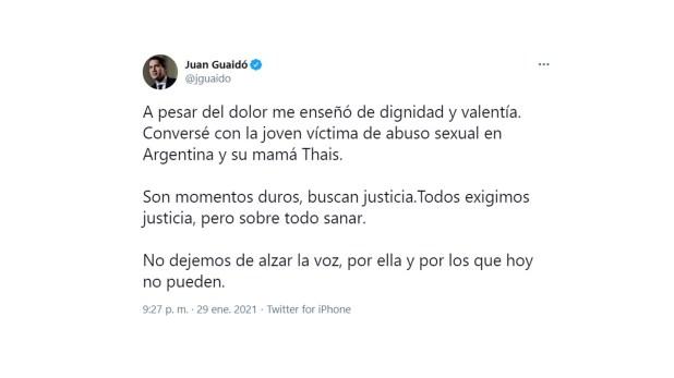 Juan Guaido converso con la joven venezolana violada en Argentina