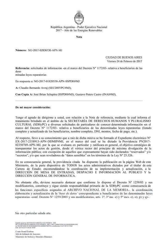 La nota oficial por la cual se dispone la publicación de todos los actos administrativos del Ministerio de Justicia que incluyen las indemnizaciones otorgadas a ex presos y a familiares de desaparecidos