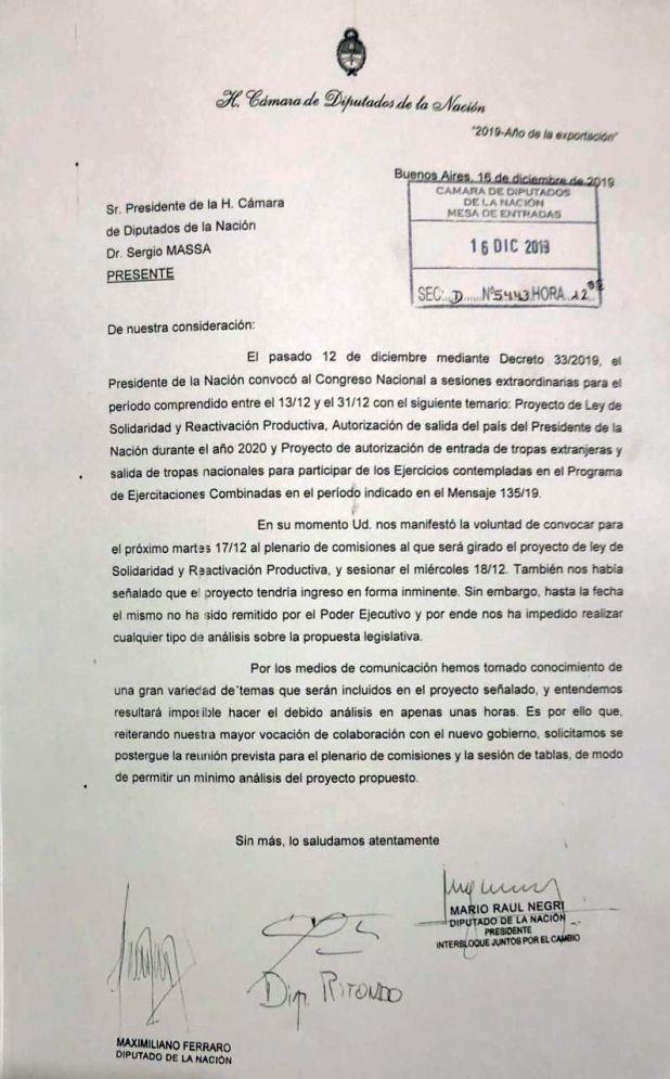La solicitud que firman Mario Negri, Cristian Ritondo y Maximiliano Ferraro