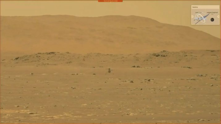 NASA's Mars helicopter Ingenuity is seen during its first flight on the planet in this still image taken from a video on April 19, 2021. NASA/JPL-Caltech/ASU/Handout via REUTERS THIS IMAGE HAS BEEN SUPPLIED BY A THIRD PARTY. DO NOT OBSCURE LOGO.