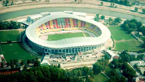 El estadio Filipo II de Skopje, donde se jugará la final de la Supercopa Europea entre Real Madrid y Manchester United