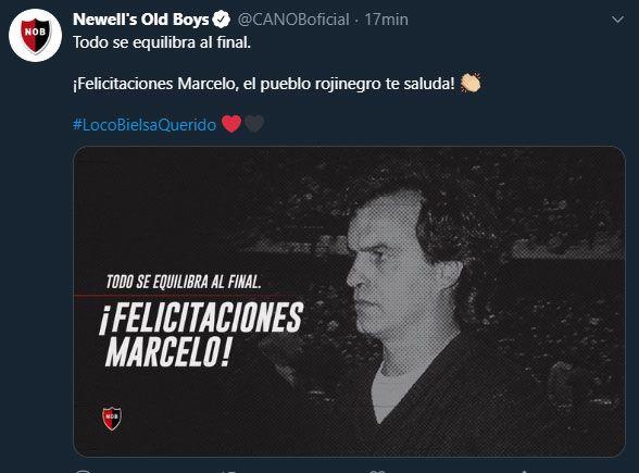 Tuits de Ledds, Newell´s y Premier League por ascenso de Bielsa
