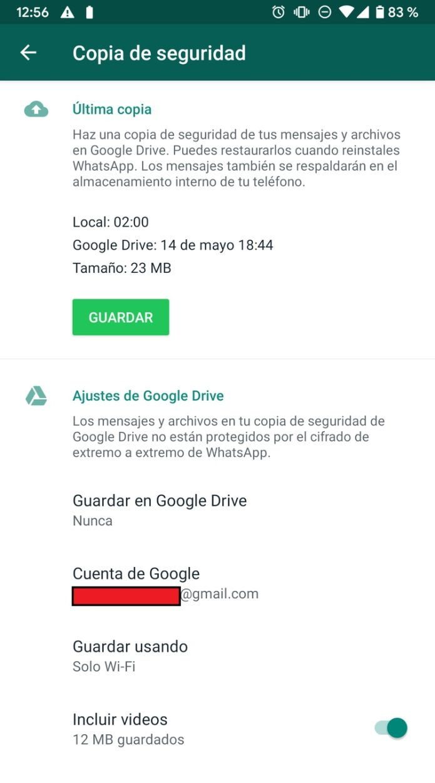 Dentro de Copia de seguridad y dentro de Ajustes de Google Drive se puede elegir con qué frecuencia se quiere hacer copias.