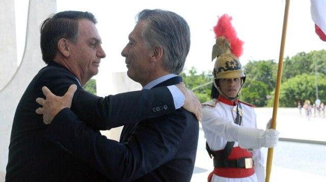 Bolsonaro y Macri en Brasilia, durante la reunión que ambos mantuvieron en enero