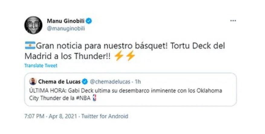 Так отреагировал Ману Джинобили на новость о том, что Габриэль Дек будет играть в НБА.