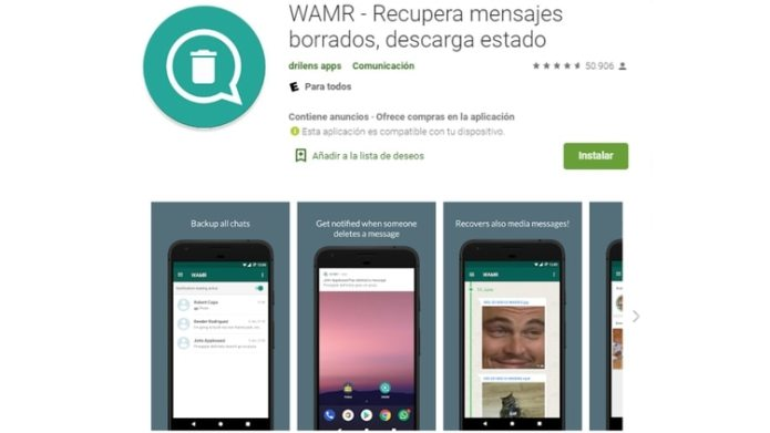 WAMR sólo está disponible para dispositivos con Android, en los iPhone no se puede descargar (Foto: Captura de Pantalla)