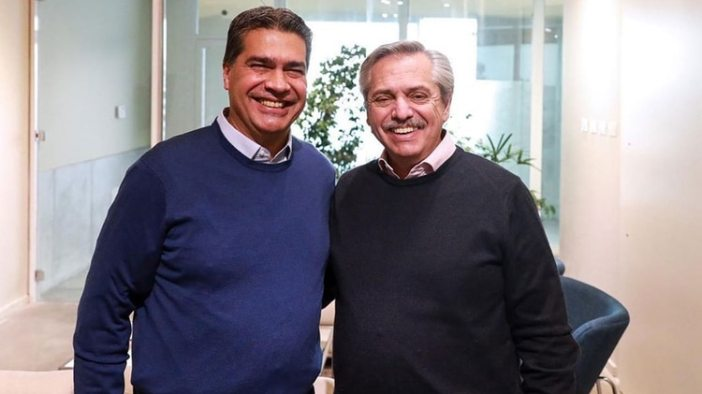 El gobernador de Chaco, Jorge Capitanich, junto a Alberto Fernández (Instagram @alferdezok)