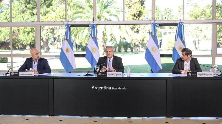 Alberto Fernández, Kicillof y Rodríguez Larreta, durante la grabación del mensaje