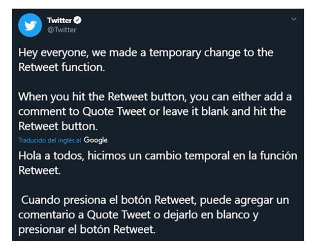 El anuncio de Twitter sobre la nueva actualización