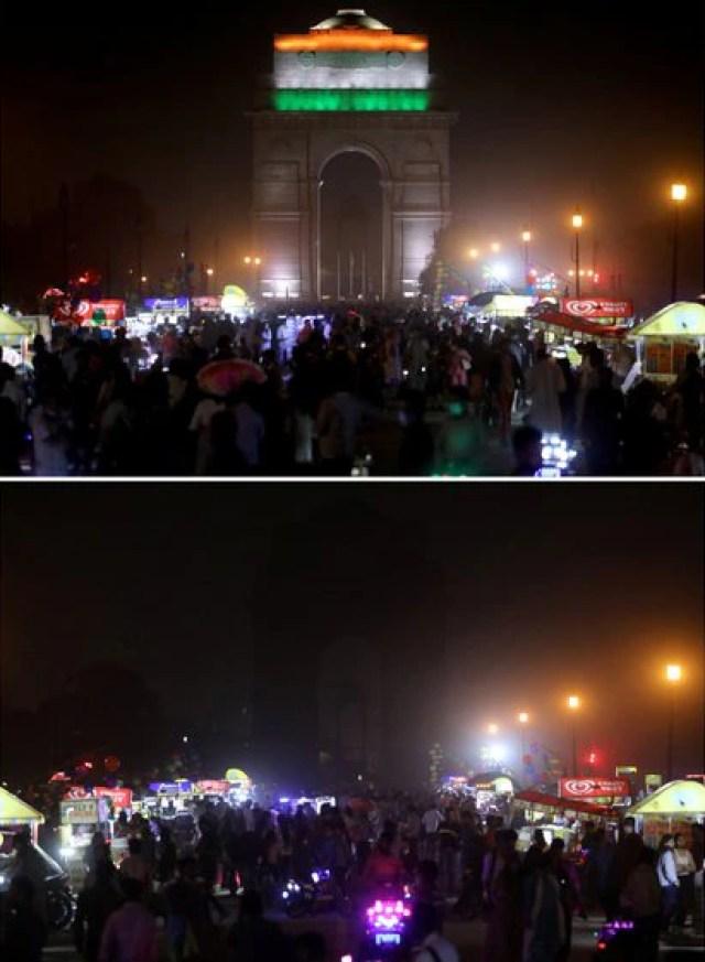 el monumento a la guerra de la Puerta de la India antes (arriba) y después de que se apagaran las luces en Nueva Delhi, India