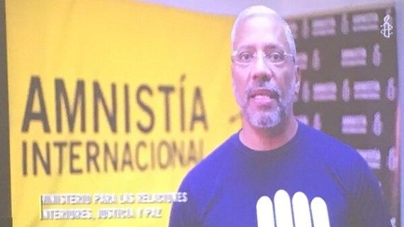 Marcos Gómez, director de Amnistía Internacional Venezuela, participó de la presentación por medio de un video grabado