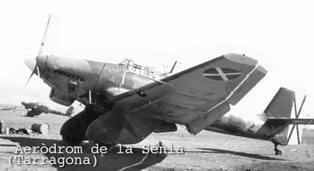 Imagen de un Stuka en el Aeródromo de La Sénia, en Tarragona. Allí tenían su base aérea los nazis