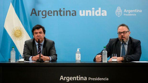 Los ministros de Desarrollo Productivo, Matías Kulfas, y de Trabajo, Claudio Moroni, durante uno de los anuncios de las medidas adoptadas
