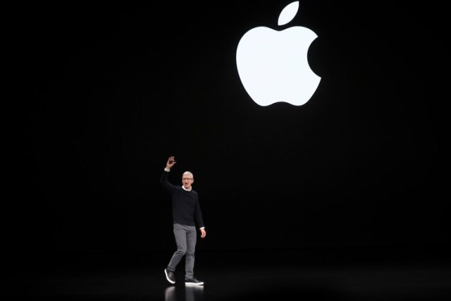 Tim Cook, director ejecutivo de Apple, durante la conferencia del 25 de marzo (Jim Wilson/The New York Times)