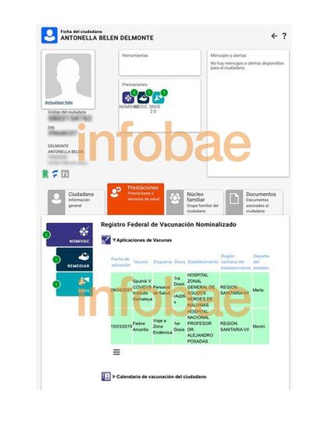Captura de pantalla del sistema SISA, donde quedó registrada su vacunación