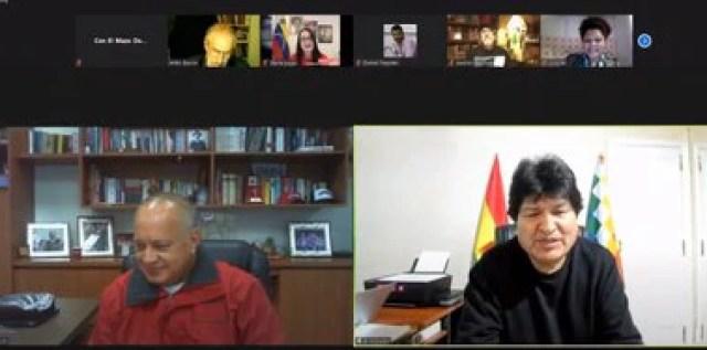 Diosdado Cabello y Evo Morales durante un foro virtual